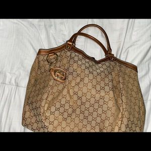 GUCCI Canvas/Leather Tote Bag
